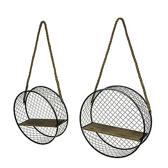 Black Metal Mesh and Wood Round Hanging Shelf with Rope Hanger Set of 2