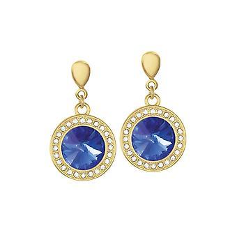 Eeuwige collectie Viva majestueuze Blauwe Oostenrijkse Crystal Gold Tone Drop Clip op oorbellen