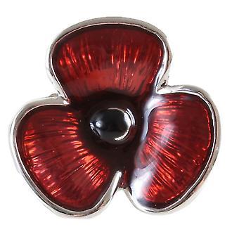 David Van Hagen Poppy Cravat Pin - Red/Silver