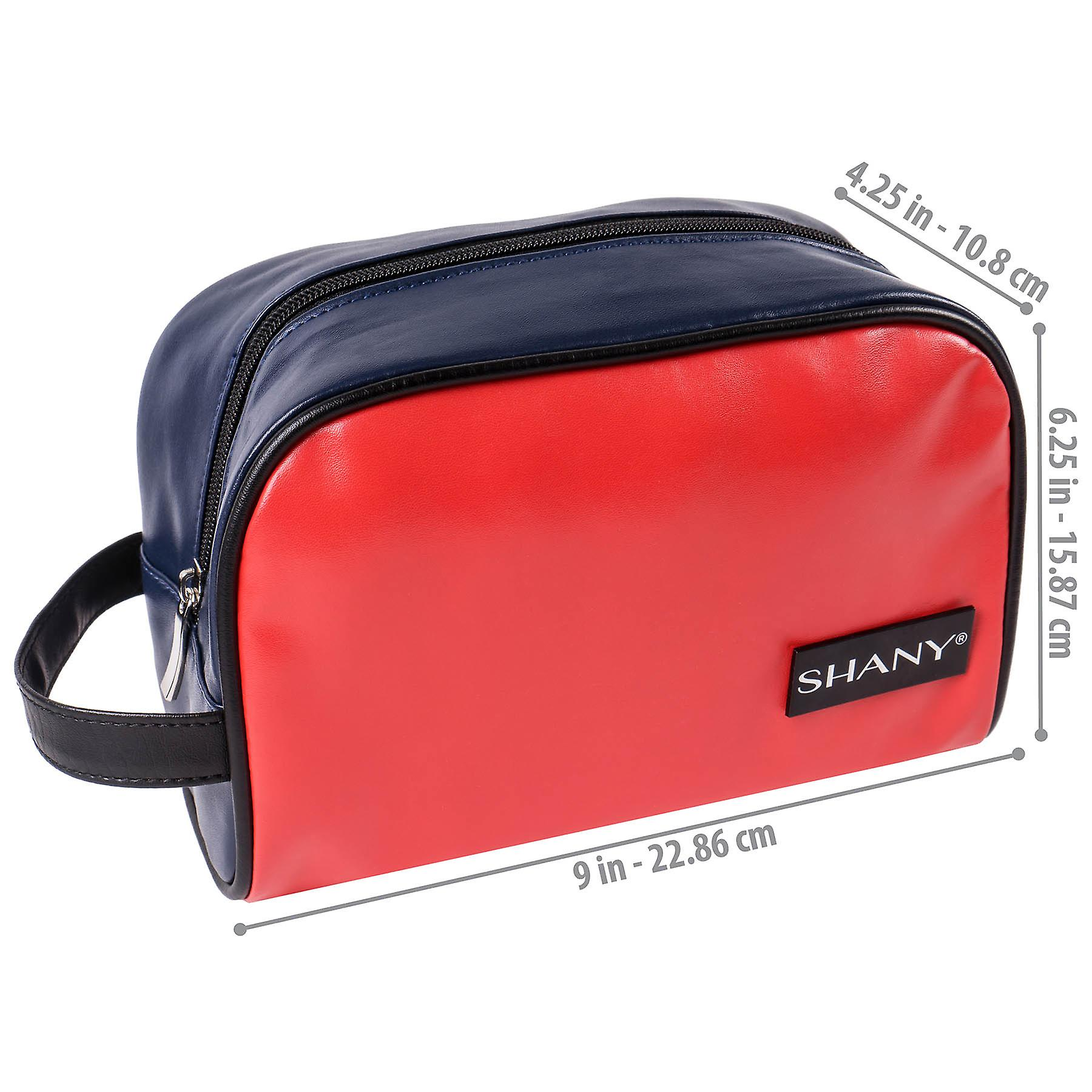 SHANY Grooming Bag and Travel Toiletry Tote – Zippered Faux Leather Organizer with Three Pockets – NAVY/RED
