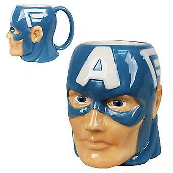 Molded Mug Marvel Captain America Head Sculpt 16oz - Licensed -