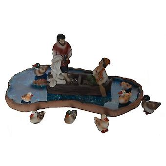 Duck pond with two anglers for Nativity stable Nativity accessories