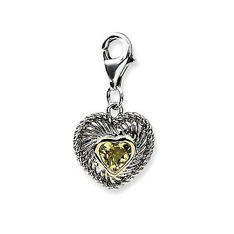 925 Sterling Silver Fancy Lobster Closure With 14k Yellow Lemon Quartz Charm Pendant Necklace Measures 24x12mm Jewelry G