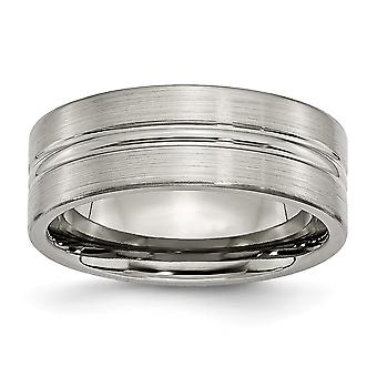 Titanium Engravable Grooved 8mm Brushed and Polished Band Ring Jewelry Gifts for Women - Ring Size: 8 to 14