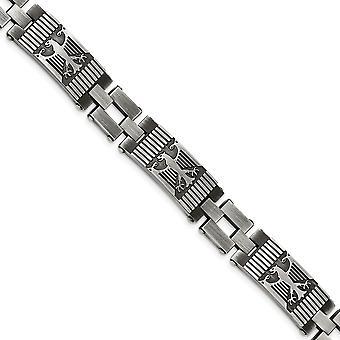 Edelstahl Antik poliert und gebürstet Armband - 8,5 Zoll
