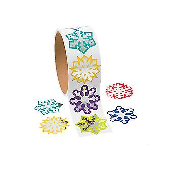 Roll of 100 Assorted Snowflake Stickers for Kids | Childrens Craft Stickers