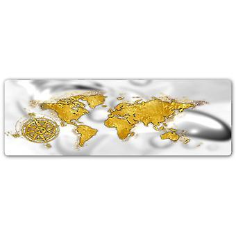 Metal a cópia, mapa de mundo do ouro com compasso levantou-se