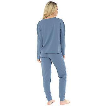 Womens 100% Cotton Marl Effect Pyjama Lounge Set