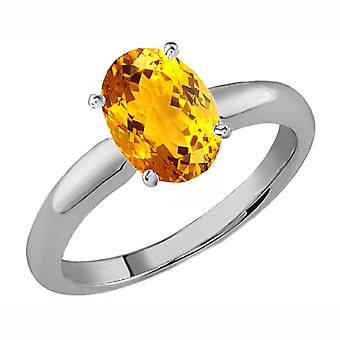 Dazzlingrock Collection Sterling Silver 8X6 MM Oval Citrine Ladies Solitaire Bridal Engagement Ring