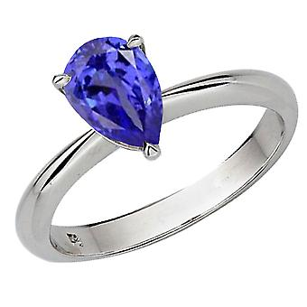 Dazzlingrock Collection 18K 9X7mm Pear Cut Tanzanite Solitaire Bridal Engagement Ring, White Gold