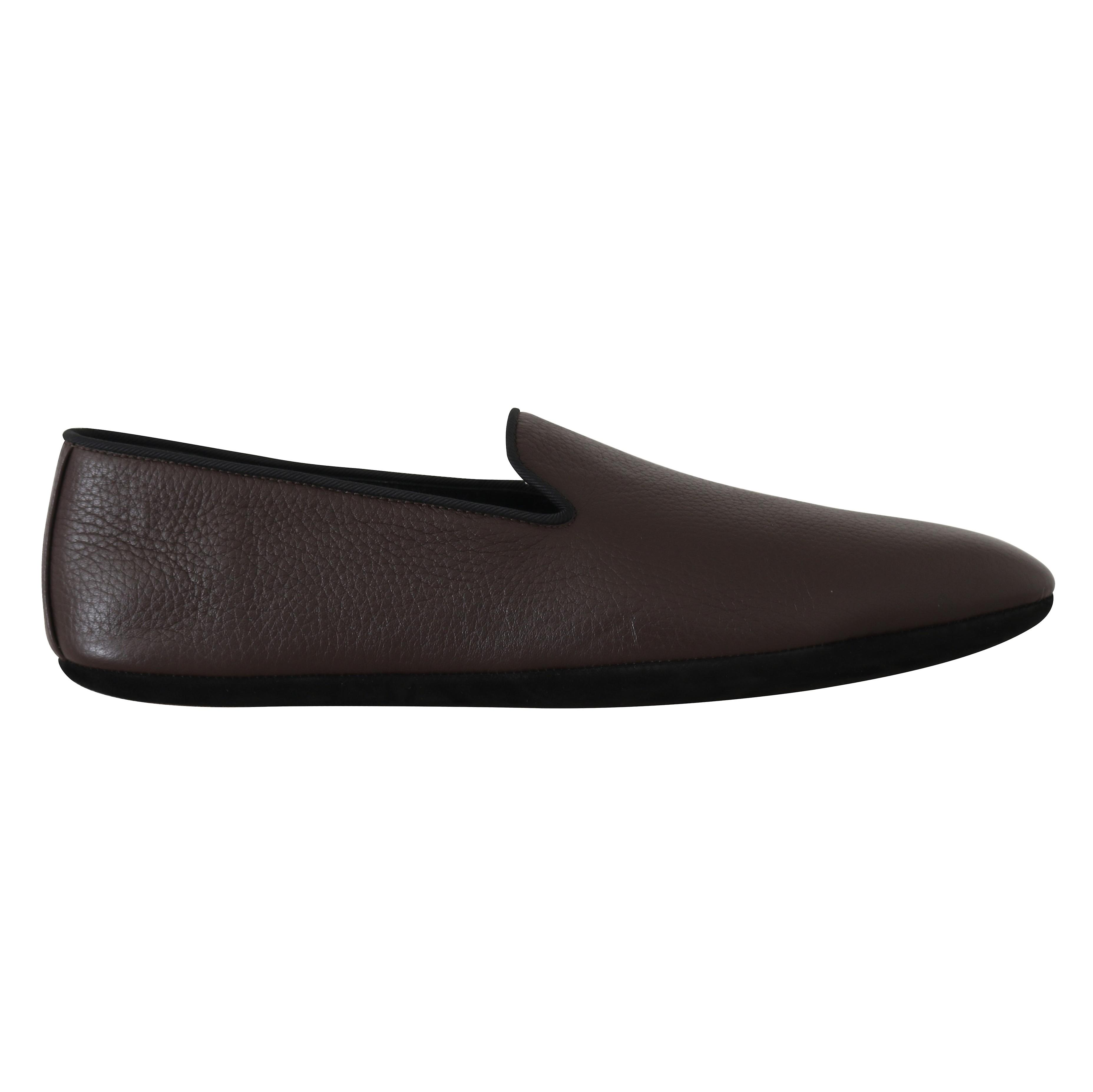 Brown Leather Suede Slides Loafers