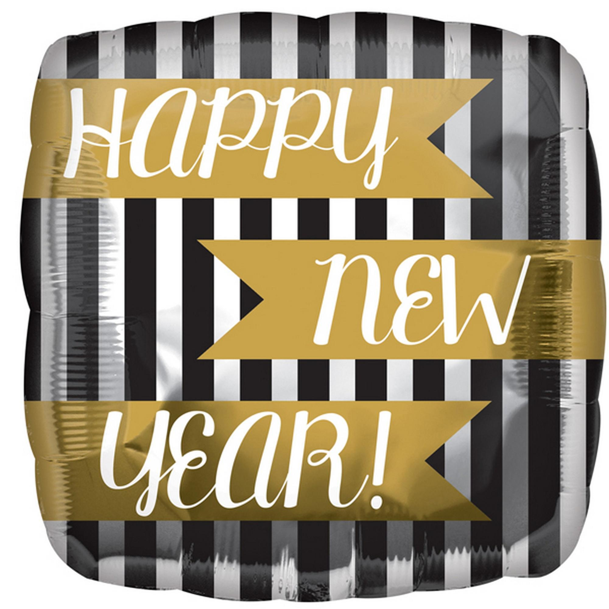 Anagram 18in Happy New Year Vertical Stripes Square Foil Balloon
