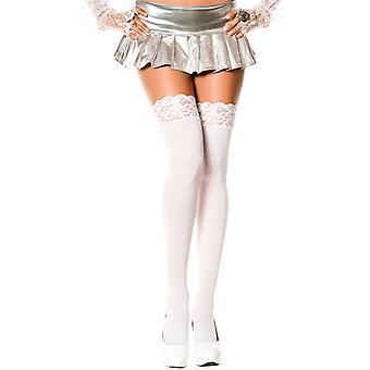 Chaussettes longues avec garniture de dentelle-blanc