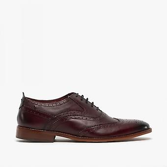 Base London Focus menns Leather aksent sko vasket bordo