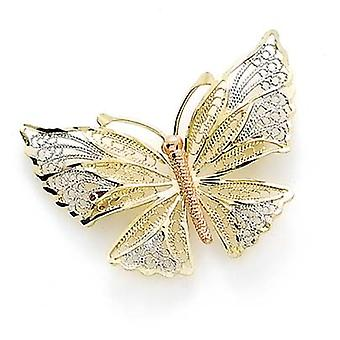 14k Tricolor Gold Butterfly Angel Wings Pin Jewelry Gifts for Women - 3.3 Grams