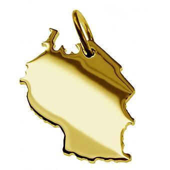 Hänge karta kedja hänge i guldgult-guld i form av TANSANIA