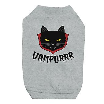 Vampurrr Funny Halloween Graphic Design Grey Pet Shirt for Small Dogs