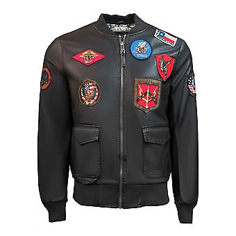 Top Gun Vegan Leather Bomber Jacket Brown