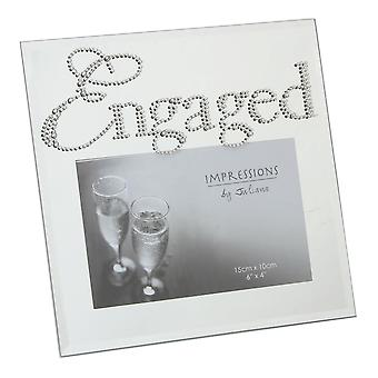 Impressions By Juliana Glass Mirror Diamante Crystal Word Engaged 6 X 4 Photo Frame