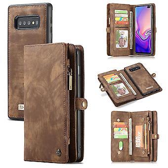 Für Samsung Galaxy S10 + Plus Fall braun Brieftasche Leder abnehmbare Flip Cover