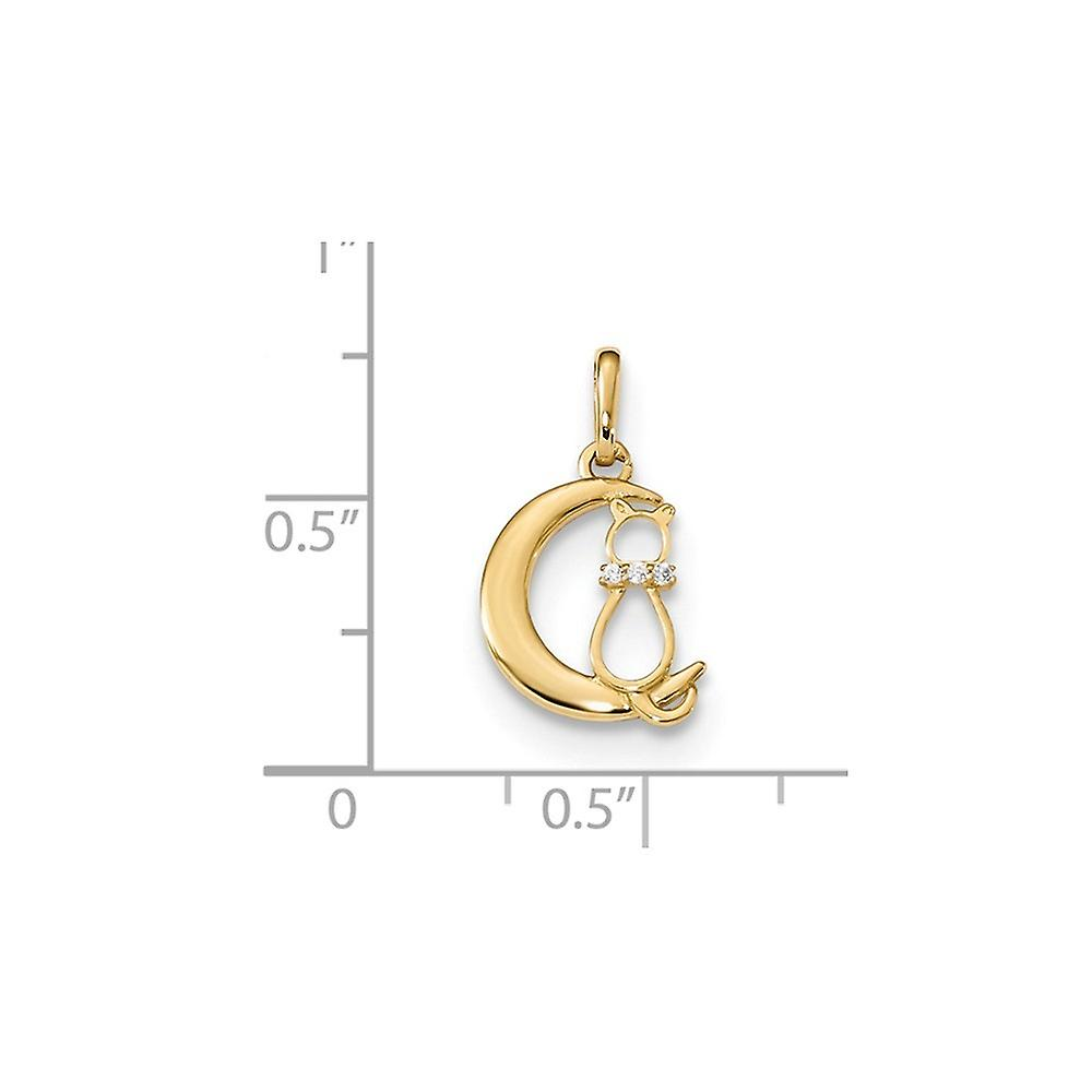 14k for boys or girls CZ Cubic Zirconia Simulated Diamond Cat and Celestial Moon Pendant Necklace