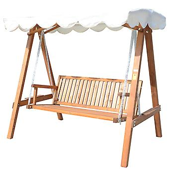 Outsunny 3 Seater Wooden Wood Garden Swing Chair Seat Hammock Bench Furniture Lounger Bed New(Cream)