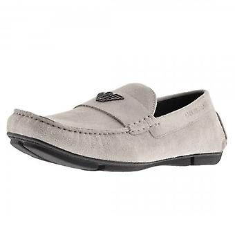 Emporio Armani Fog Grey Suede Slip On Loafer Shoes X4B124 XF188