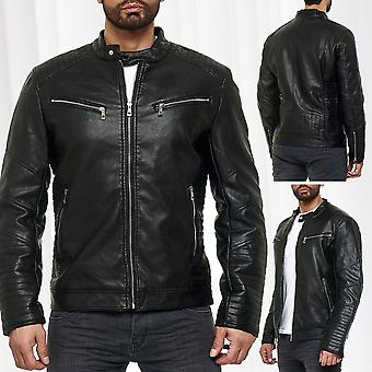 biker leather jacket men leatherette bomber jacket imitation
