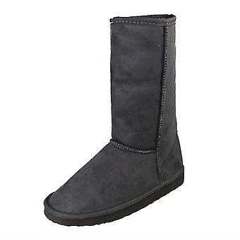 Girls Spot On Fur Lined Pull On Calf Length Boots