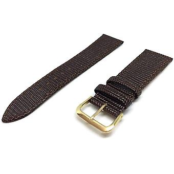 Lizard grain watch strap brown with gold plated buckle size 12mm to 26mm