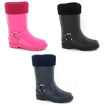 Spot On Childrens Girls Rubber Turn Collar Wellington Boots With Ring Strap Detail