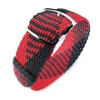Strapcode fabric watch strap 20, 22mm miltat perlon watch strap, black & red, polished ladder lock slider buckle