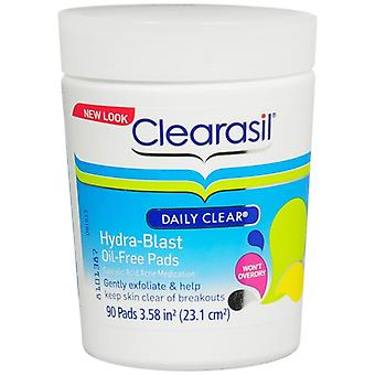 Clearasil daily clear hydra-blast oil-free pads, 90 ea