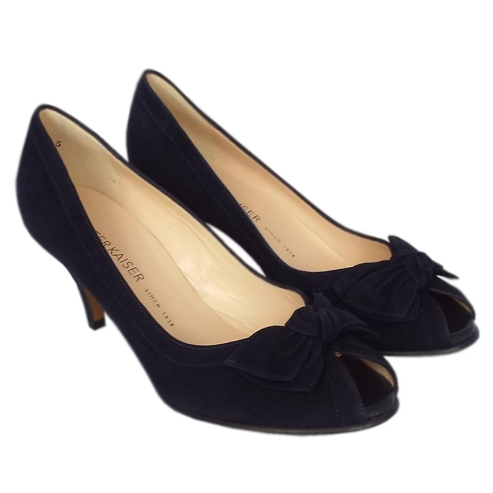Peter Kaiser Satyr Women's Peep Toe Dressy Shoes In Notte Suede