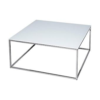 Gillmore White Glass And Silver Metal Contemporary Square Coffee Table