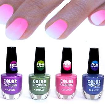 4x Nail Polish with Thermo Colour Changing Effect - Four Colours