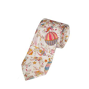 White & Pink Liberty Art Fabric Hot Air Balloon Print Tie