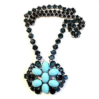 Giora Necklace with Brooch full of Blue Swarovski Precious Crystal and Turquoise