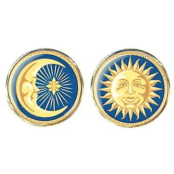 Bassin and Brown Sun and Crescent Moon Cufflinks - Blue/Yellow