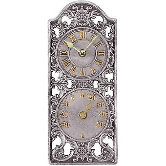 "Outdoor/Indoor Garden Wall Clock 12"" Westminster Face & Thermometer Gauge"