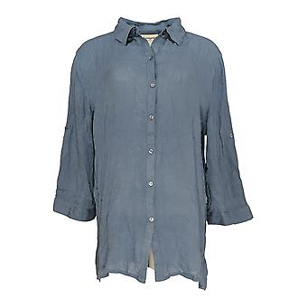 Serengeti Women's Top Button Front Shirt w/Roll-Tab Sleeves Blue