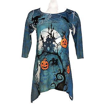 Artisans Women's Top Printed 3/4 Sleeve Tee w/ Scarf Hem Blue
