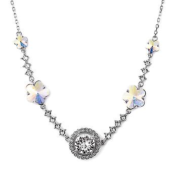 J Francis Made with Swarovski® Crystal Simulated Mystic Crystal Silver Necklace