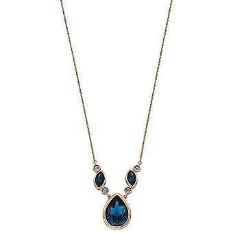 Elemente Silber Multi Stein Kristall Halskette - Rose Gold/blau
