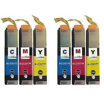 2 Set di cartucce C/M/Y per sostituire Brother LC3217 Compatibile/non OEM da Go Inks (6 inchiostri)