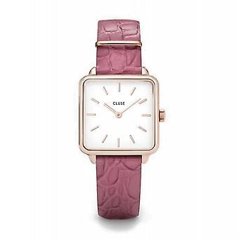 Cluse CL60020 La Tétragone Pink Leather Wristwatch