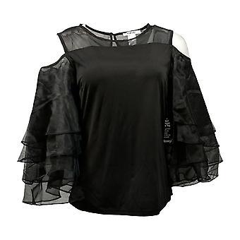 Masseys Women's Top Dramatic Ruffle-Sleeved Top Black