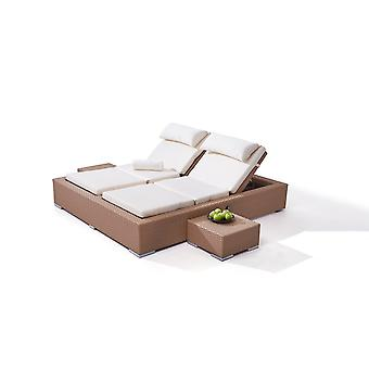 Polyrattan Doppelliege Big Smoop - karamell