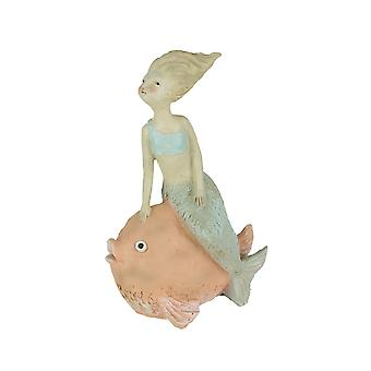 Whimsical Hand Painted Pastel Mermaid Sitting on Fish Statue