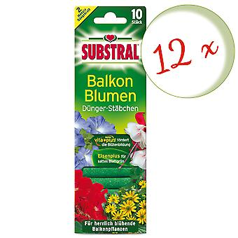 Sparset: 12 x SUBSTRAL® fertilizer rods for balcony flowers, 10 pieces